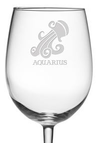 Aquarius Zodiac Sign Wine Glass