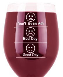 Funny Wine Glass.Emoji-Don't Even Ask, Bad Day, Good Day-Funny