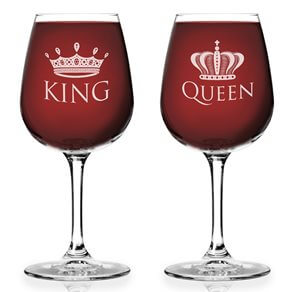 King and Queen 12.75 oz. Wine Glass Set