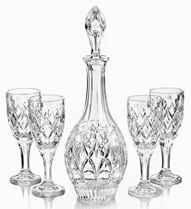 Fifth Avenue Crystal Gabriella 5 Piece Wine Decanter Set