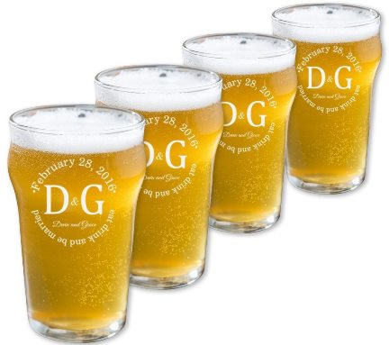 Personalized English Pub Beer Glasses Set of 4