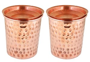 Indian Copper Tumbler Hammered Glasses