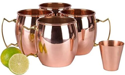 Moscow Mule Copper Mug, Set of 4 with BONUS Shot Glass and Free Recipe Booklet